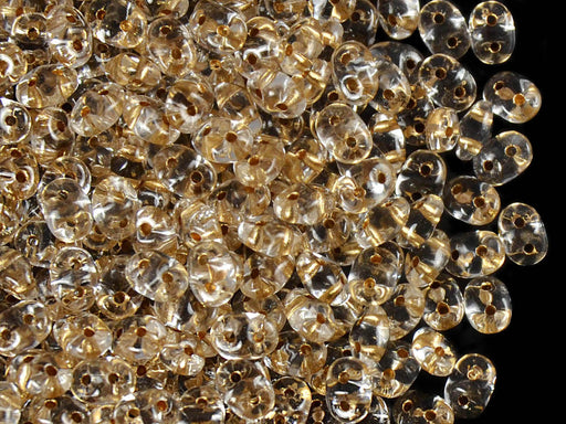 20 g 2-hole SuperDuo™ Seed Beads, 2.5x5mm, Crystal Bronze Lined, Czech Glass