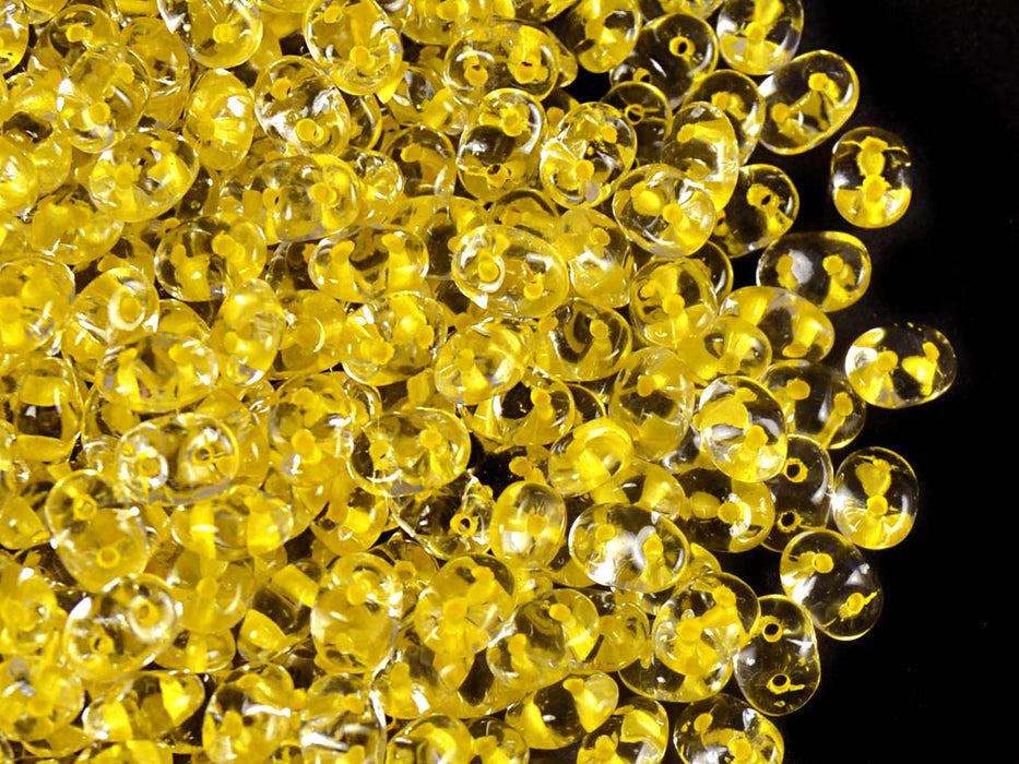 20 g 2-hole SuperDuo™ Seed Beads, 2.5x5mm, Crystal Yellow Lined, Czech Glass