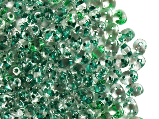 20 g 2-hole SuperDuo™ Seed Beads, 2.5x5mm, Crystal Dark Green Lined, Czech Glass