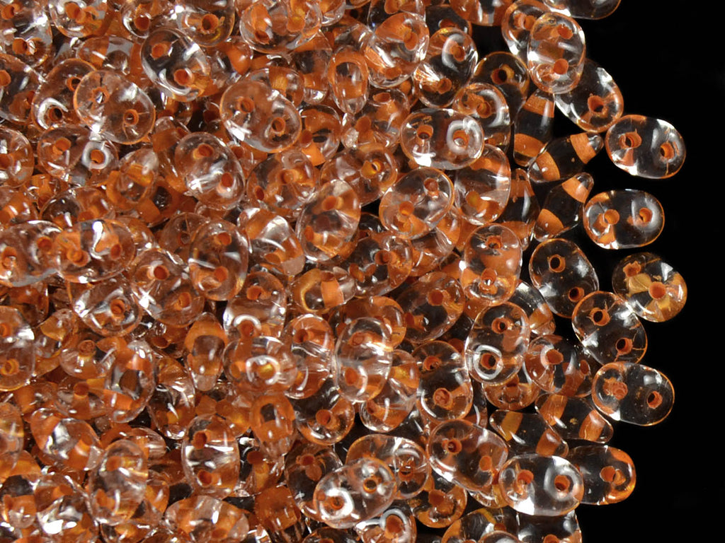 20 g 2-hole SuperDuo™ Seed Beads, 2.5x5mm, Crystal Dark Orange Lined, Czech Glass