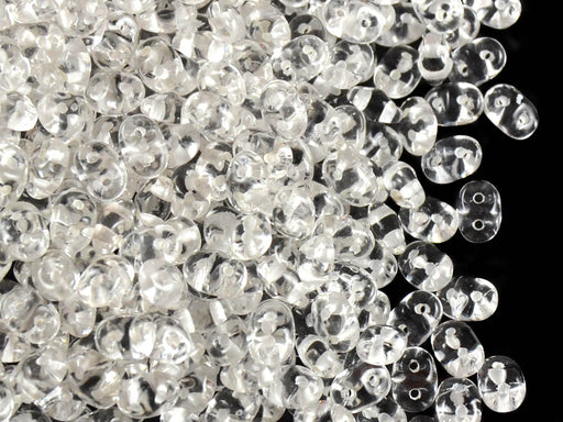 20 g 2-hole SuperDuo™ Seed Beads, 2.5x5mm, Crystal White Lined, Czech Glass