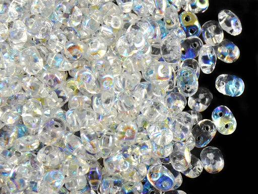 20 g 2-hole SuperDuo™ Seed Beads, 2.5x5mm, Crystal AB, Czech Glass