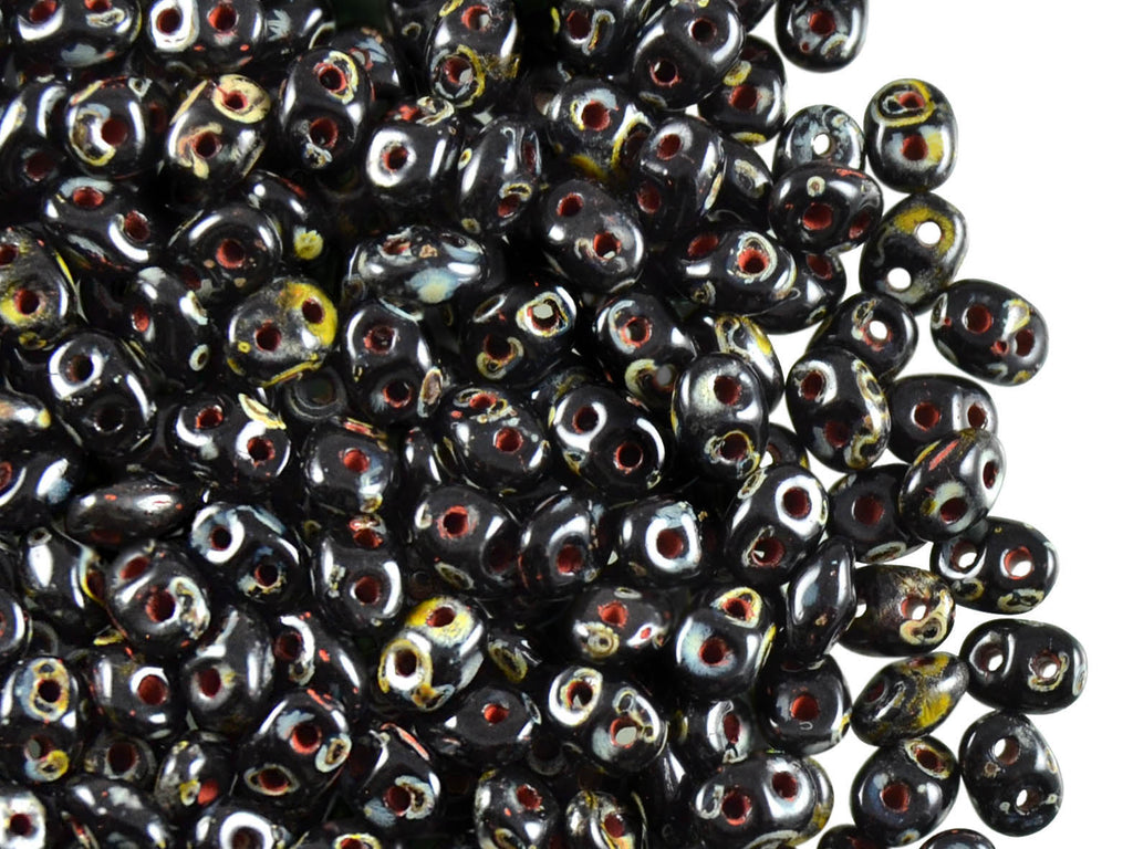 2-hole SuperDuo™ Seed Beads, 2.5x5mm, Jet Travertine Dark, Czech Glass