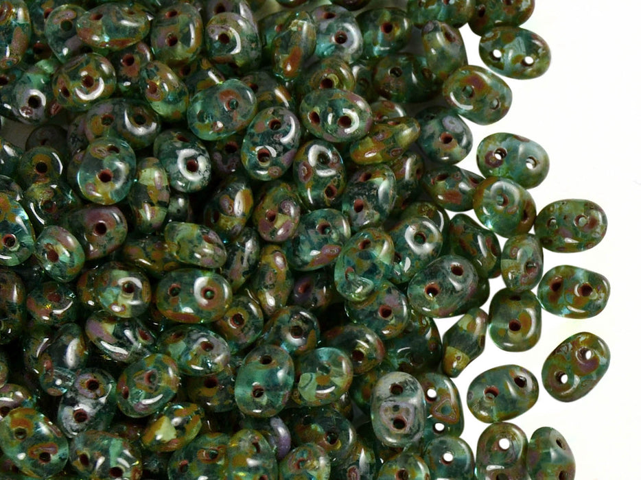 20 g 2-hole SuperDuo™ Seed Beads, 2.5x5mm, Aqua Travertine Luster, Czech Glass