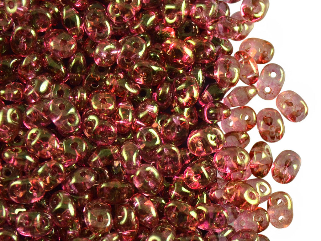 20 g 2-hole SuperDuo™ Seed Beads, 2.5x5mm, Crystal Red Luster, Czech Glass