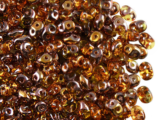 20 g 2-hole SuperDuo™ Seed Beads, 2.5x5mm, Topaz Capri Gold AB, Czech Glass