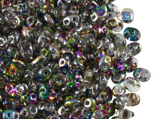 20 g 2-hole SuperDuo™ Seed Beads, 2.5x5mm, Crystal Vitrail AB, Czech Glass