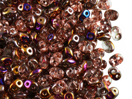 20 g 2-hole SuperDuo™ Seed Beads, 2.5x5mm, Crystal Sliperit AB, Czech Glass