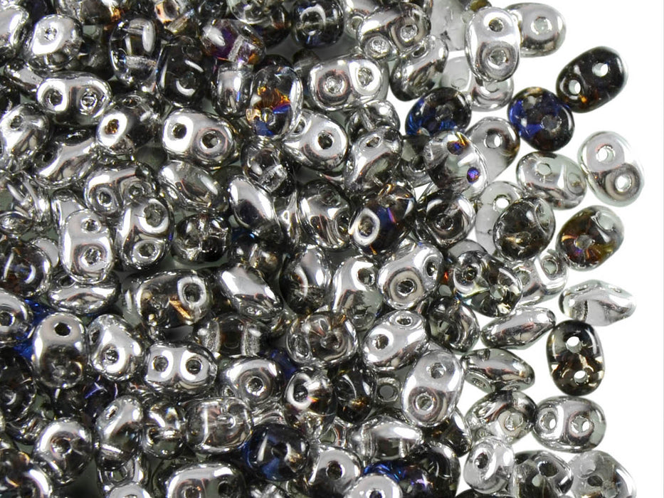 20 g 2-hole SuperDuo™ Seed Beads, 2.5x5mm, Crystal Heliotrope AB, Czech Glass