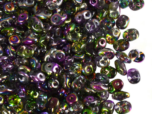 20 g 2-hole SuperDuo™ Seed Beads, 2.5x5mm, Magic Violet Green, Czech Glass