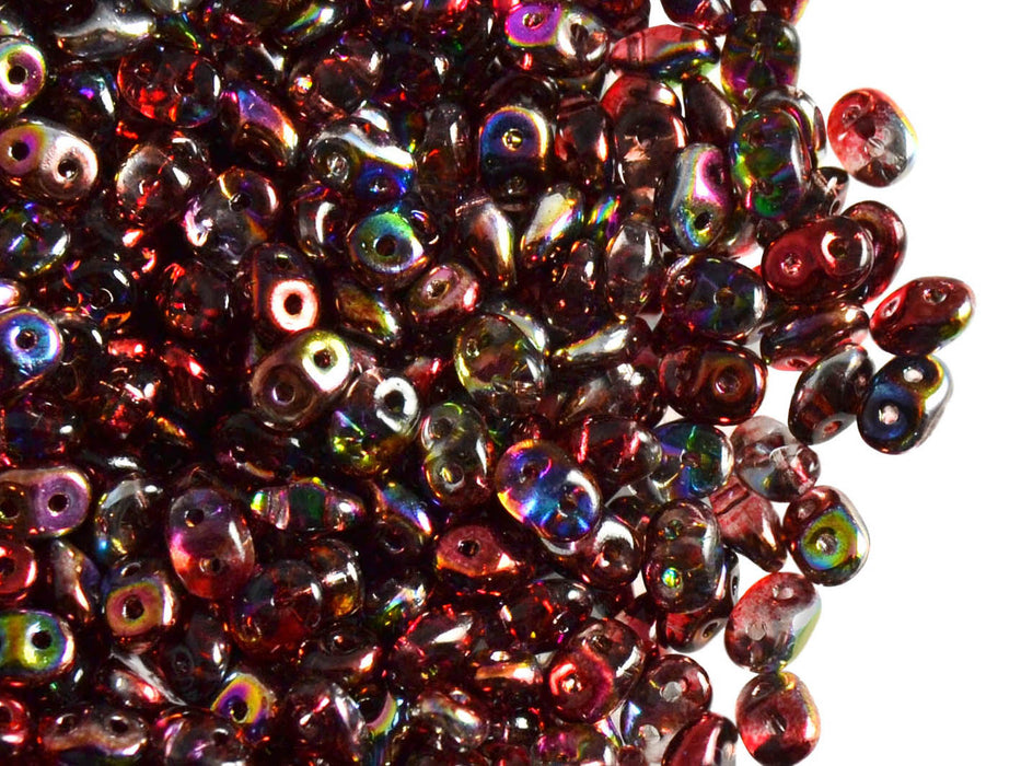 20 g 2-hole SuperDuo™ Seed Beads, 2.5x5mm, Magic Red Brown, Czech Glass