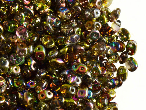 20 g 2-hole SuperDuo™ Seed Beads, 2.5x5mm, Magic Yellow Brown, Czech Glass