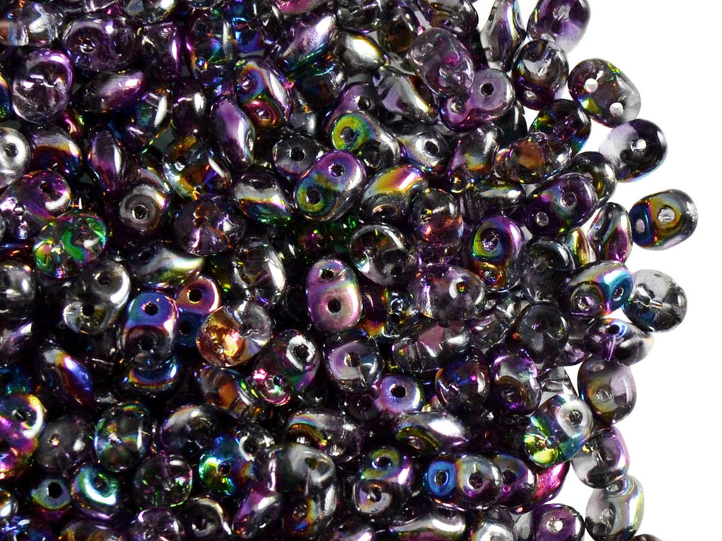 2-hole SuperDuo™ Seed Beads, 2.5x5mm, Magic Violet Gray, Czech Glass