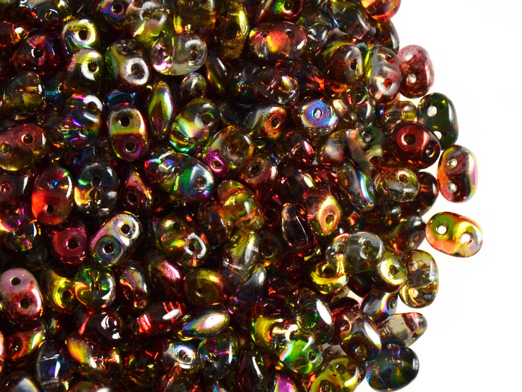 2-hole SuperDuo™ Seed Beads, 2.5x5mm, Magic Red Yellow, Czech Glass