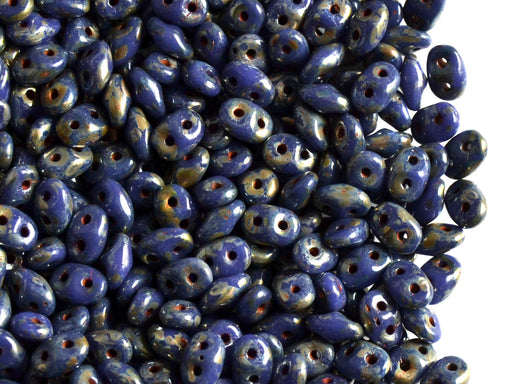 20 g 2-hole SuperDuo™ Seed Beads, 2.5x5mm, Opaque Blue Picasso Luster, Czech Glass