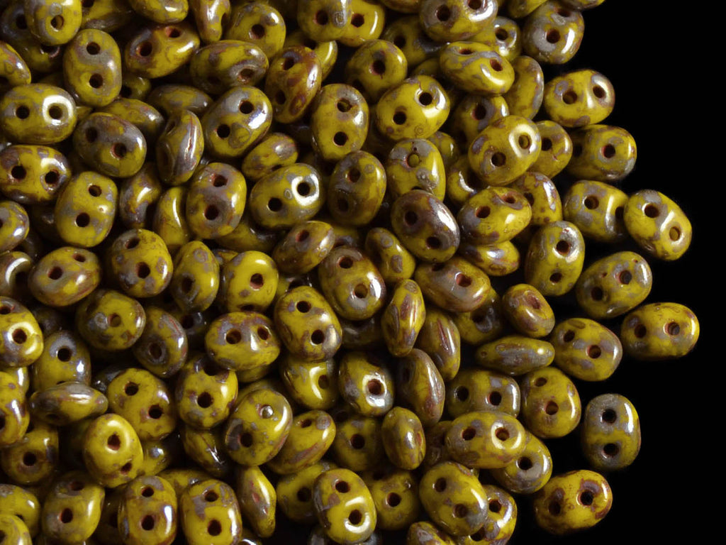 2-hole SuperDuo™ Seed Beads, 2.5x5mm, Lemon Picasso Luster, Czech Glass