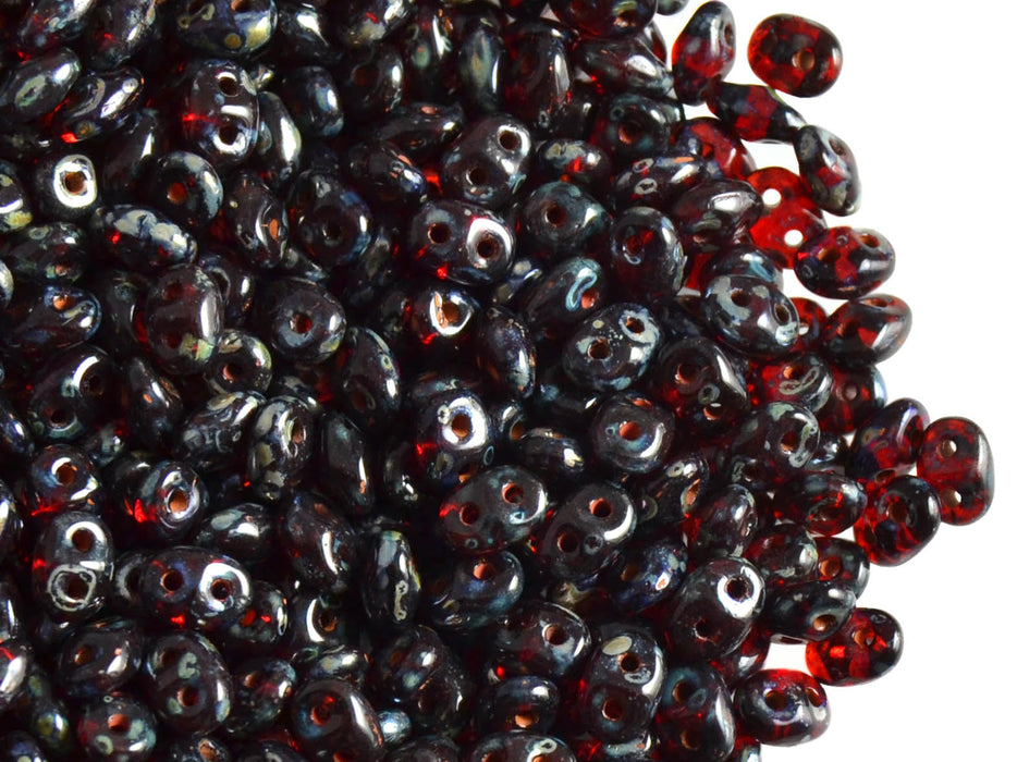 20 g 2-hole SuperDuo™ Seed Beads, 2.5x5mm, Ruby Picasso Luster, Czech Glass