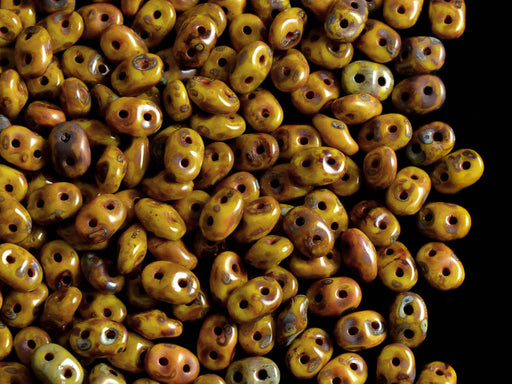 20 g 2-hole SuperDuo™ Seed Beads, 2.5x5mm, Lemon Travertine Dark Luster, Czech Glass