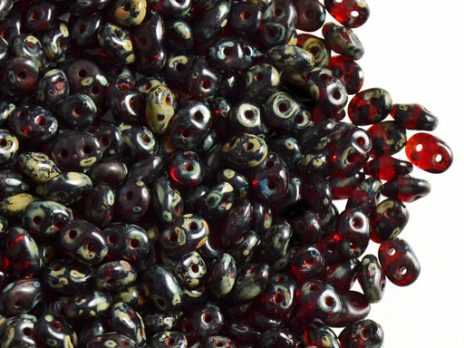 20 g 2-hole SuperDuo™ Seed Beads, 2.5x5mm, Ruby Travertine Dark Luster, Czech Glass