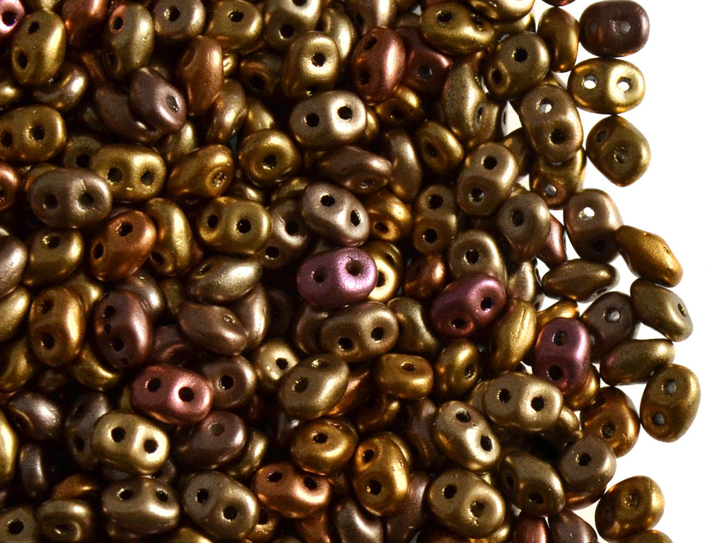 20 g 2-hole SuperDuo™ Seed Beads, 2.5x5mm, Crystal Silky Gold Iris Matte, Czech Glass