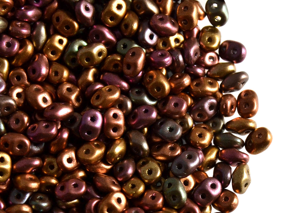 20 g 2-hole SuperDuo™ Seed Beads, 2.5x5mm, Crystal Violet Rainbow, Czech Glass