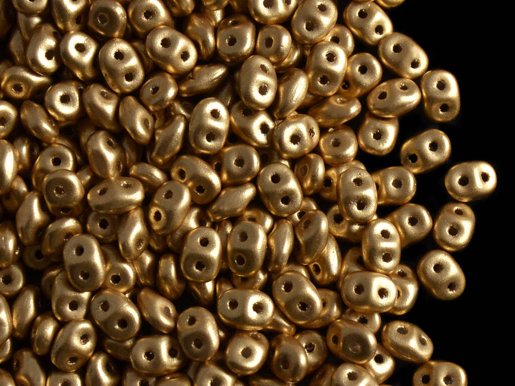 20 g 2-hole SuperDuo™ Seed Beads, 2.5x5mm, Crystal Bronze Pale Gold (Aztec Gold), Czech Glass