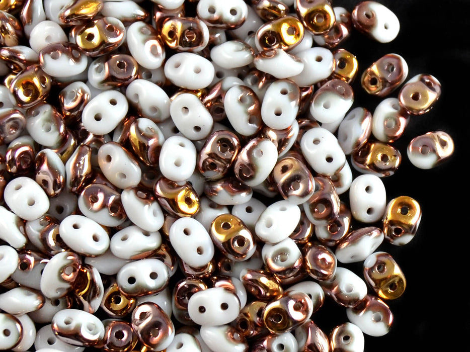 20 g 2-hole SuperDuo™ Seed Beads, 2.5x5mm, Opaque Chalk White Capri Gold, Czech Glass