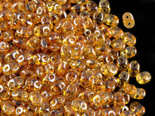 20 g 2-hole SuperDuo™ Seed Beads, 2.5x5mm, Topaz White Luster, Czech Glass