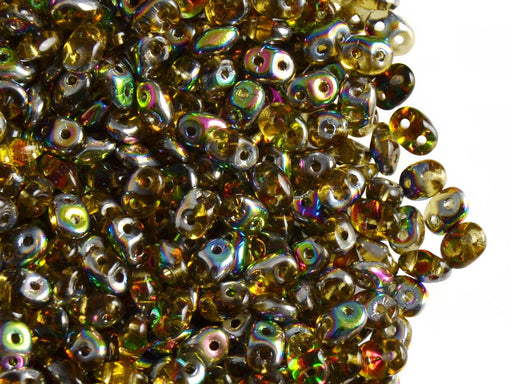 20 g 2-hole SuperDuo™ Seed Beads, 2.5x5mm, Topaz Vitrail, Czech Glass