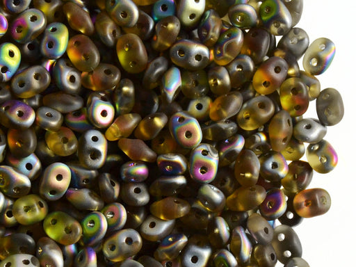 20 g 2-hole SuperDuo™ Seed Beads, 2.5x5mm, Topaz Vitrail Matte, Czech Glass