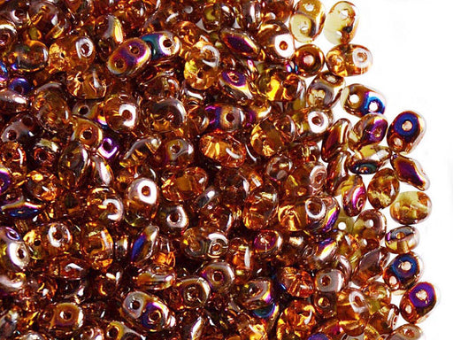 20 g 2-hole SuperDuo™ Seed Beads, 2.5x5mm, Topaz Sliperit, Czech Glass