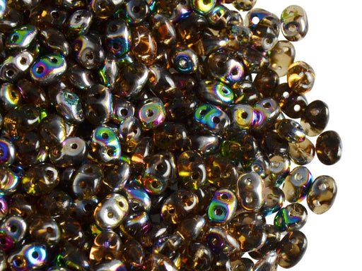 20 g 2-hole SuperDuo™ Seed Beads, 2.5x5mm, Smoked Topaz Vitrail, Czech Glass