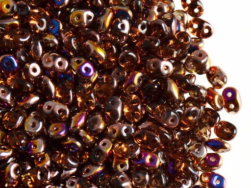 20 g 2-hole SuperDuo™ Seed Beads, 2.5x5mm, Smoked Topaz Sliperit, Czech Glass