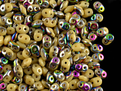 20 g 2-hole SuperDuo™ Seed Beads, 2.5x5mm, Opaque Beige Vitrail, Czech Glass