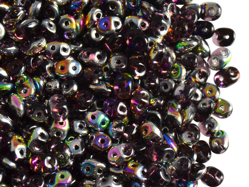 20 g 2-hole SuperDuo™ Seed Beads, 2.5x5mm, Amethyst Vitrail, Czech Glass