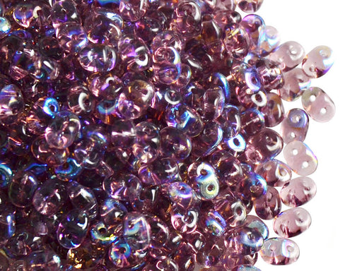 20 g 2-hole SuperDuo™ Seed Beads, 2.5x5mm, Amethyst AB, Czech Glass