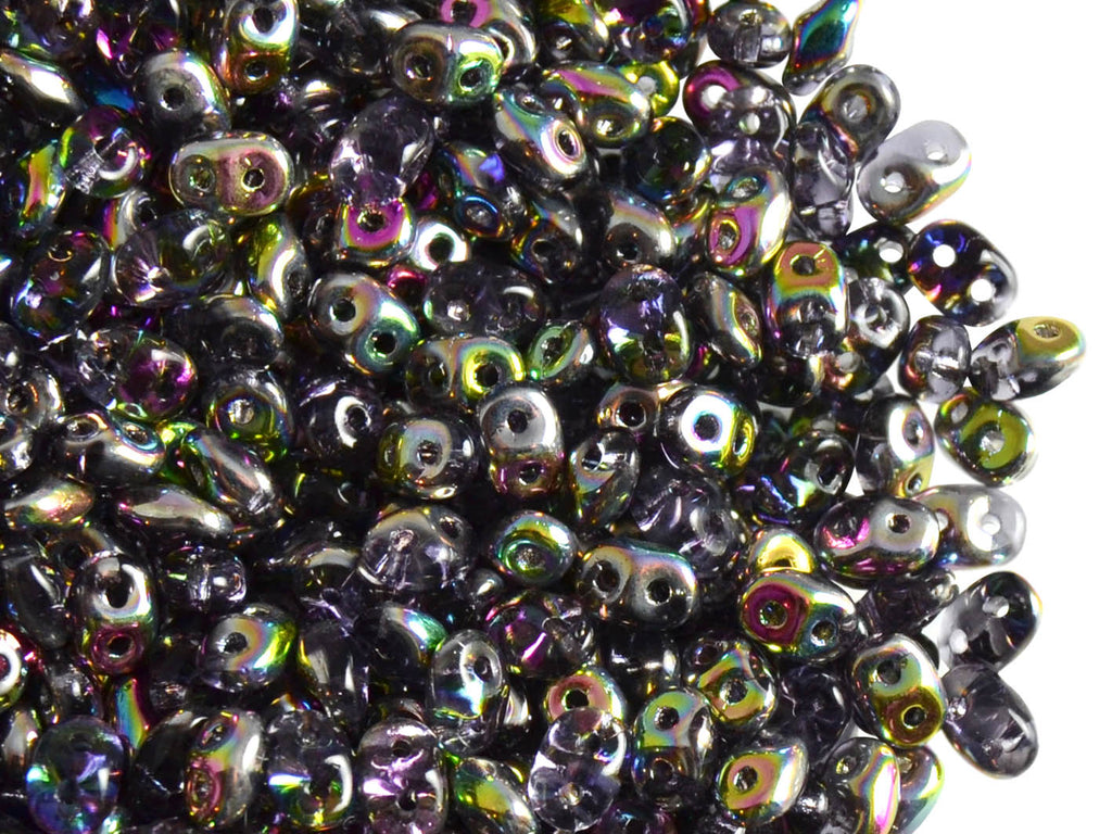 20 g 2-hole SuperDuo™ Seed Beads, 2.5x5mm, Tanzanite Vitrail, Czech Glass