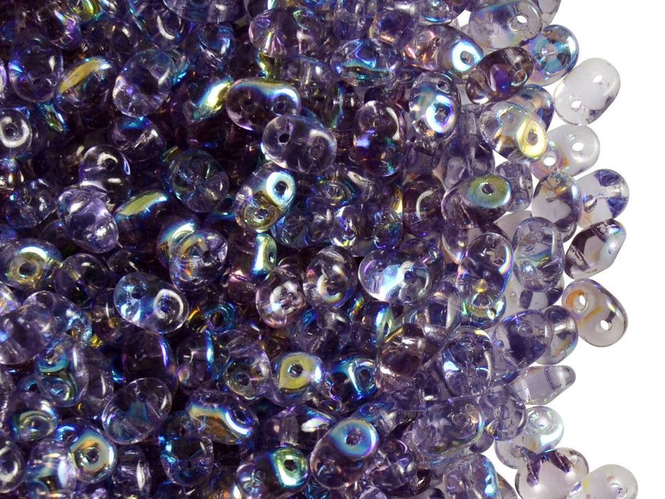 20 g 2-hole SuperDuo™ Seed Beads, 2.5x5mm, Tanzanite AB, Czech Glass
