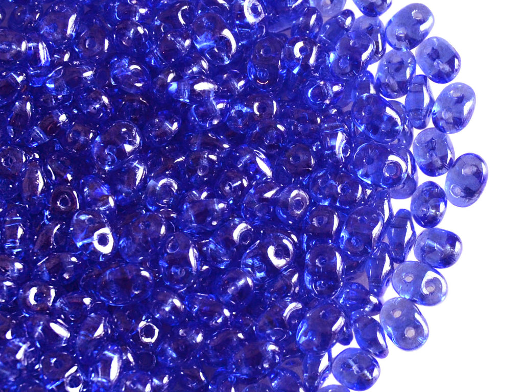 20 g 2-hole SuperDuo™ Seed Beads, 2.5x5mm, Sapphire White Luster, Czech Glass
