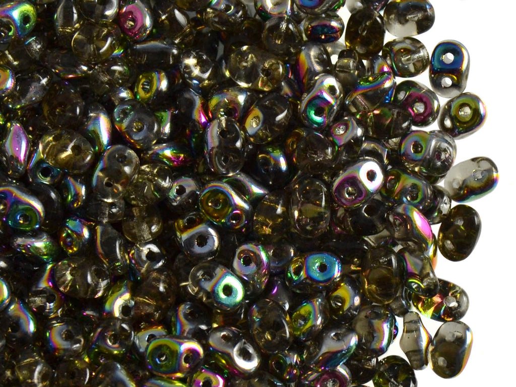 20 g 2-hole SuperDuo™ Seed Beads, 2.5x5mm, Black Diamond Vitrail, Czech Glass