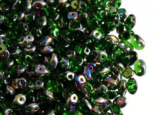 20 g 2-hole SuperDuo™ Seed Beads, 2.5x5mm, Chrysolite Vitrail, Czech Glass