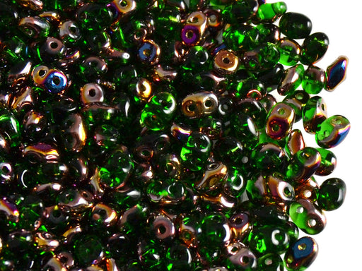 20 g 2-hole SuperDuo™ Seed Beads, 2.5x5mm, Chrysolite Sliperit, Czech Glass