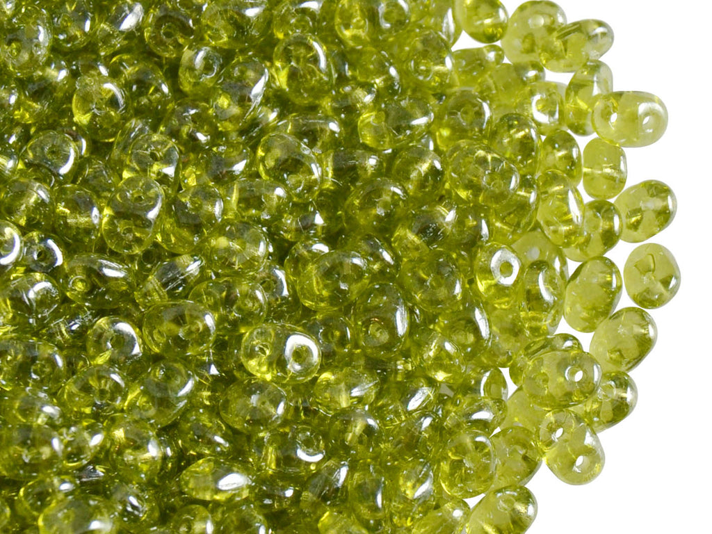20 g 2-hole SuperDuo™ Seed Beads, 2.5x5mm, Olivine White Luster, Czech Glass