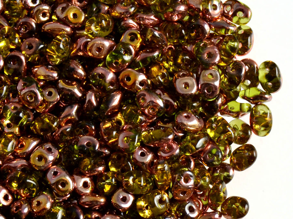 20 g 2-hole SuperDuo™ Seed Beads, 2.5x5mm, Olivine Capri Gold, Czech Glass