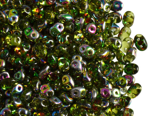 20 g 2-hole SuperDuo™ Seed Beads, 2.5x5mm, Olivine Vitrail, Czech Glass