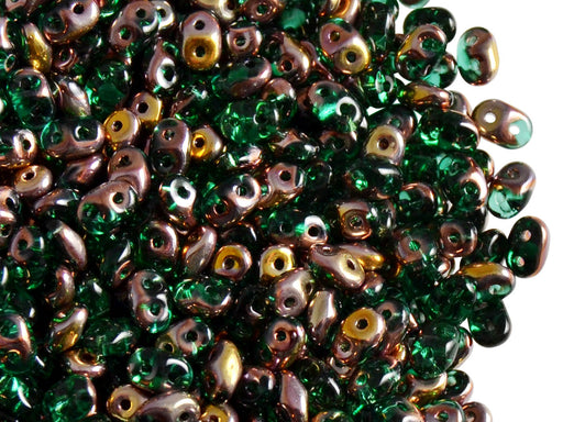20 g 2-hole SuperDuo™ Seed Beads, 2.5x5mm, Emerald Capri Gold, Czech Glass