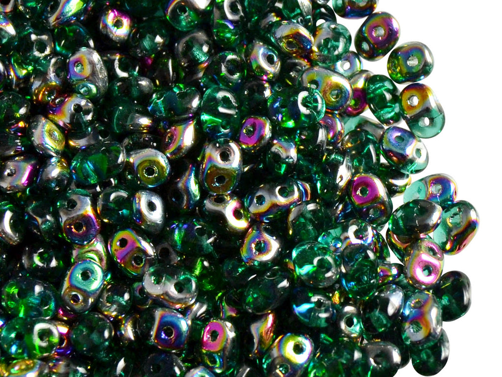 20 g 2-hole SuperDuo™ Seed Beads, 2.5x5mm, Emerald Vitrail, Czech Glass