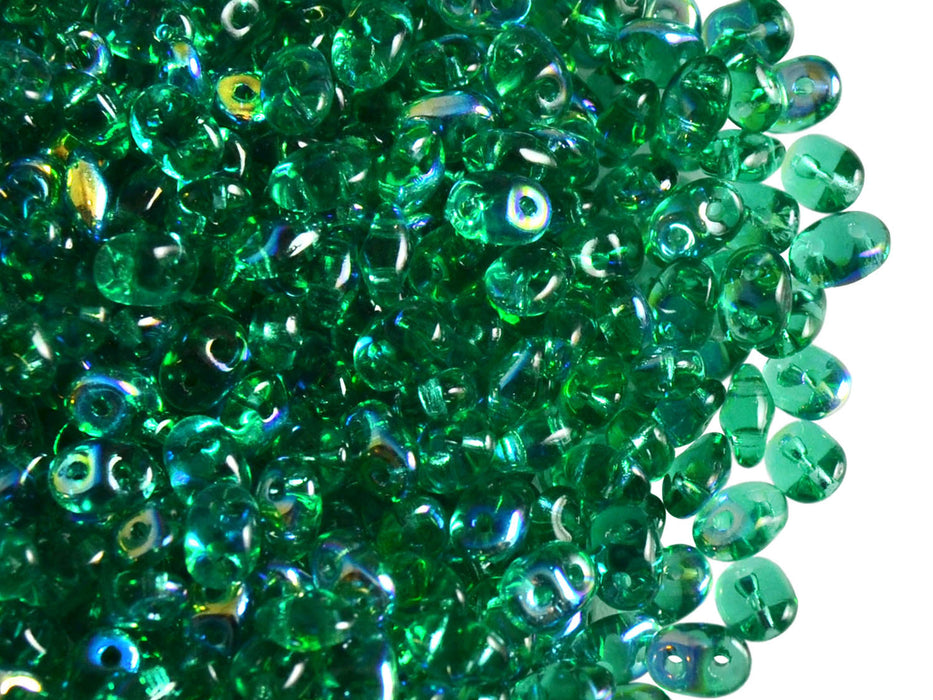 20 g 2-hole SuperDuo™ Seed Beads, 2.5x5mm, Emerald AB, Czech Glass