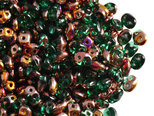 20 g 2-hole SuperDuo™ Seed Beads, 2.5x5mm, Emerald Sliperit, Czech Glass
