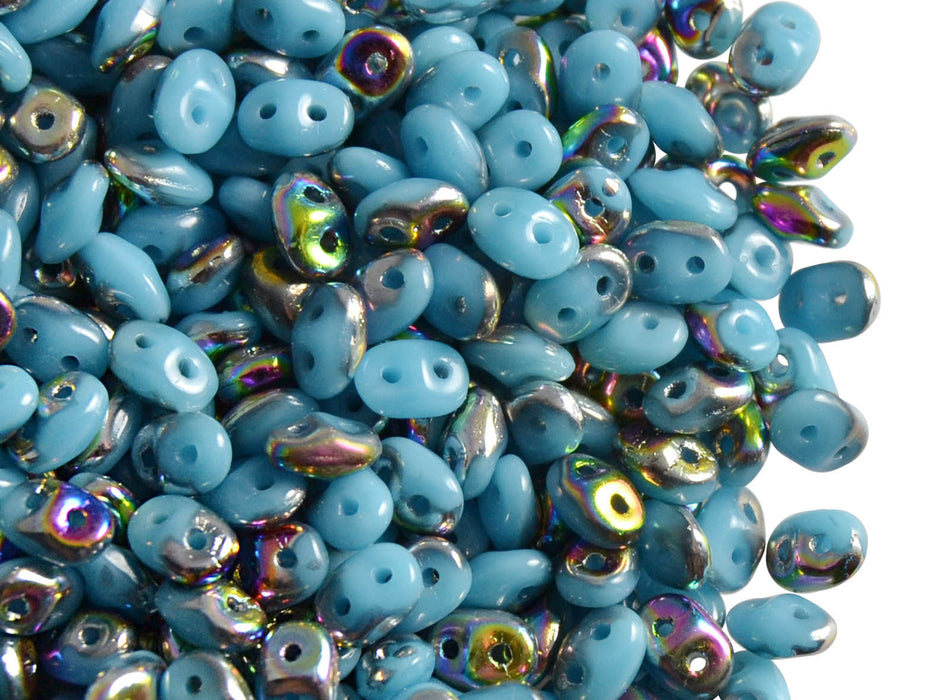 20 g 2-hole SuperDuo™ Seed Beads, 2.5x5mm, Opaque Turquoise Blue Vitrail, Czech Glass